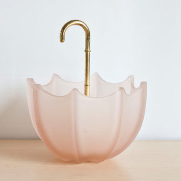 Vintage Pink Satin Glass Umbrella Trinket Dish, Ring Holder, Jewelry Holder with Gold Tone Handle