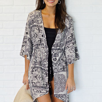 * Page Swimsuit Cover Up Or Kimono - Multi Print Black