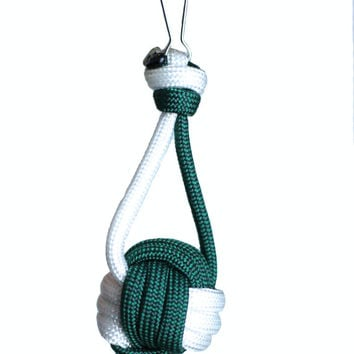 Paracord Keychain, Green and White