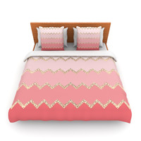 "Monika Strigel ""Avalon Coral Ombre"" Pink Chevron Lightweight Duvet Cover"