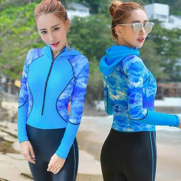 Women Diving Suit Wet suit One-piece Surfing Outdoor Snorkel Suits Long Sleeve Swimming Slim Zipper Foot Pedal Design