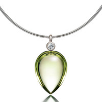 Peridot and diamond necklace made from white gold, briolette cut, unique, Peridot pendant, nickel free, green necklace, custom, tear drop