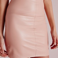 Missguided - Faux Leather Mini Skirt Nude
