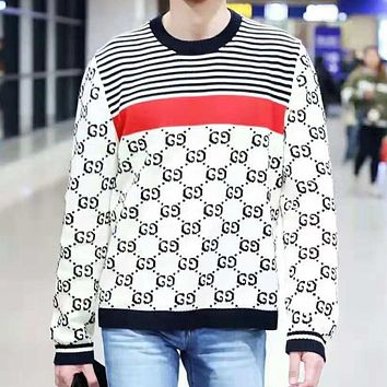 GUCCI Classic Popular Women Men Casual Long Sleeve Round Collar Sweater Top Sweatshirt White