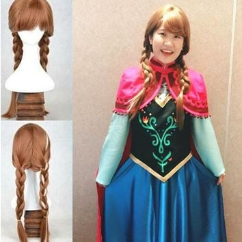 ONETOW Women Snow Princess Anna Brown Braids Girl Party Children Froze Anna Wig Party Fancy costume