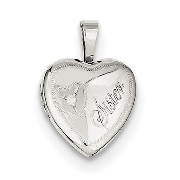 Sterling Silver Rhodium-plated & Diamond Sister Heart 12mm Heart Locket QLS524