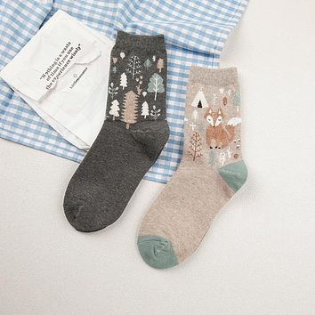 Animals Fox Cartoon Socks Funny Crazy Cool Novelty Cute Fun Funky Colorful