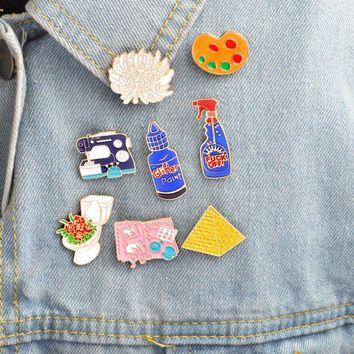 Hfarich Enamel pins Toilet flower Sewing machine Palette pyramid paint Hand tools Brooch Button Pin Denim Jacket Pin Badge Gift