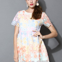 Dreamy Rainbow Floral Embroidered Mesh Dress Grey