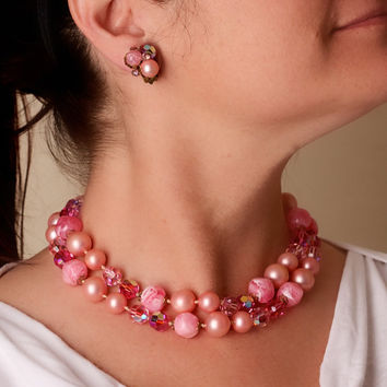 Vintage Pink Double Strand Necklace Earring Set