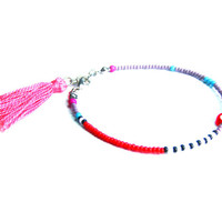 Pink Tassel Beaded Friendship Bracelet - Evil Eye Bracelet - Seed Bead Bracelet - Tassel Bracelet - Summer Bracelet - Red Evil Eye