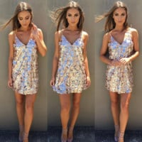 Fashion  gold and silver sequined dress