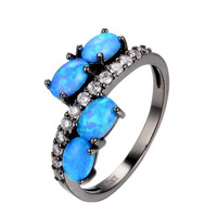 Blue sapphire jewelry Size 6/7/8/9 Women Finger Rings 14KT Black Gold Filled Opal Stone Fashion Jewelry Wedding Ring anel Alternative Measures