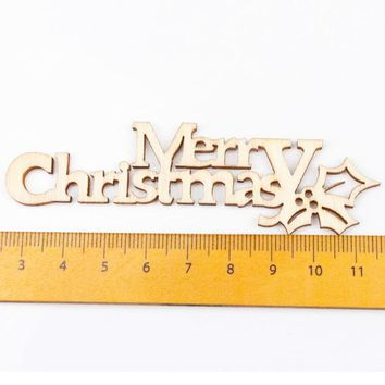 Natural Wood Christmas Pattern Craft Accessories Scrapbooking For Handmade Sewing Home Decoration DIY 10pcs 21x92mm MT1642-FD