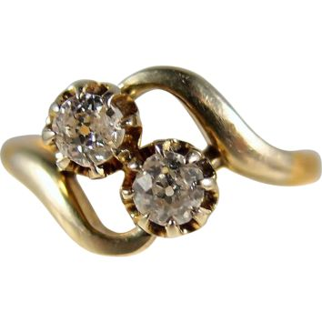 Edwardian double diamond bypass ring, 18K French gold crossover alternative engagement ring, stamped, numbered