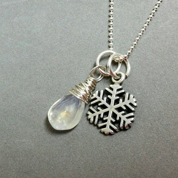 Winter Snowflake Necklace, Moonstone Charm Necklace, Snow Flake Necklace, Sterling Silver Necklace 18 inches by Maggie McMane Designs