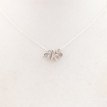SILVER INITIAL NECKLACE, made to order, name necklace, popular, fashion forward, small letters, script necklace, petite, modern