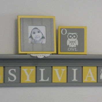 "Owl - Baby Nursery Room Decor, Personalized Name Shelves, Block Tiles Custom for SYLVIA with Owls, 8 Yellow / Gray Plates on 30"" Grey shelf"
