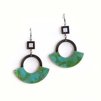 Large Hoop Earrings, Painted Wood Earrings, Dangle Earrings, Turquoise Wood Hoops, Geometric Jewelry, Unique Jewelry, Gift for Her