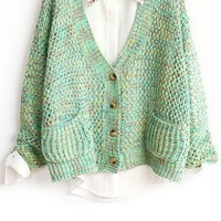 Cutout Heather Button-up Cardigan