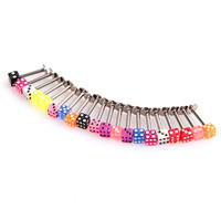 20pcs Multicolor Stainless Steel Dice Lip Rings Bars Labret Stud Piercing