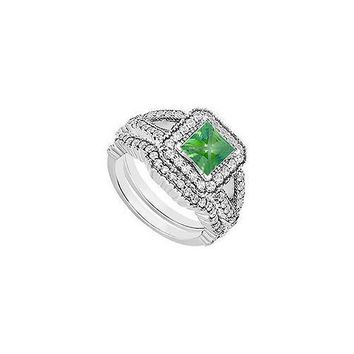 14K White Gold Princess Cut Emerald & Diamond Engagement Ring with Wedding Band Sets 1.00 CT TGW