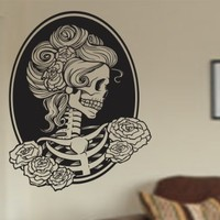 Dabbledown Decals Victorian Woman Skull Wall Vinyl Decal Sticker Art Graphic Sticker Sugar Skull Sugarskull
