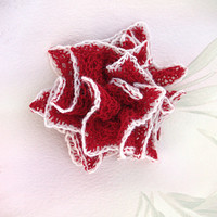 Lace Hair Flower, Hand-Knit Bridesmaid/ Flower Girl Accessory, Wedding/Bridal Hair Flower, Red With White Edge, Estonian Lace