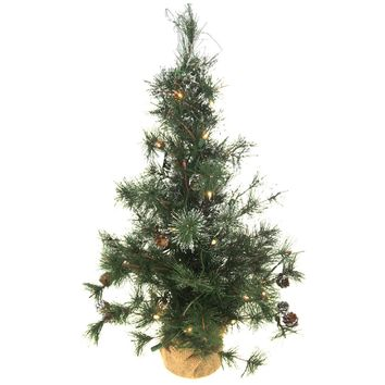 Pre-Lit Artificial Christmas Tree Snow Dusted, Green, 24-Inch