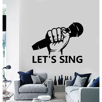Vinyl Wall Decal Let's Sing Microphone Hand Karaoke Musical Art Decor Stickers Mural (g378)
