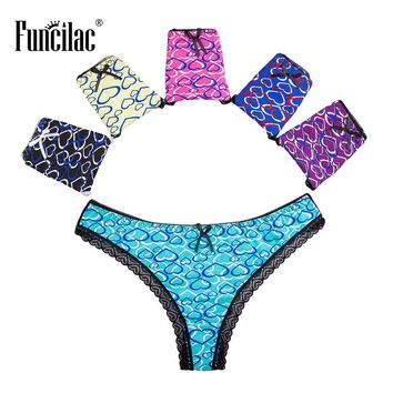 FUNCILAC Underwear Woman Panties Lace Thong Sexy Briefs For Women Cotton Lingerie G String Bow Knot Underpants M L XL 5 Pcs/Lot