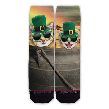 Function - St. Patrick's Day Cat Pot of Gold Fashion Socks