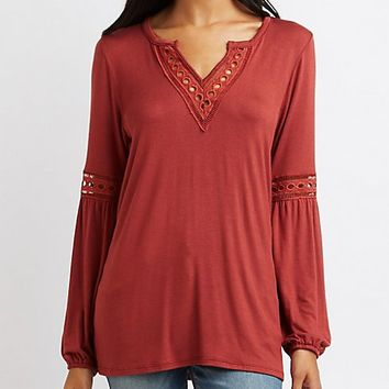 Crochet-Trim Split Neck Top