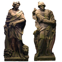 Pair Low Countries Baroque Gritstone Statues of Mars and Ceres