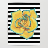 Yellow and Turquoise Rose on Stripes Poster by drawingsbylam
