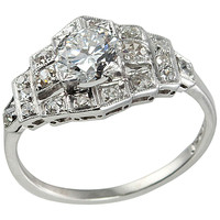 Art Deco Diamond Engagement Ring in Step Mounting