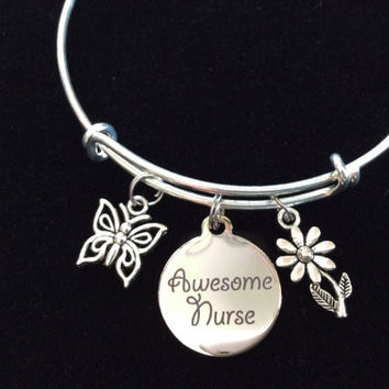 Awesome Nurse Adjustable Expandable Silver Plated Bangle Bracelet One Size Fits Most Medical Occupational Charm Bracelet