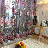 3D Voile Curtains fabric Tulle Sheer Curtains For Kitchen Bedroom Living Room