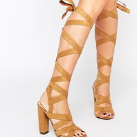 Missguided Wrap Detail Block Heeled Sandals