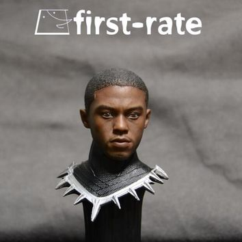 """Hot Movie American captain 1/6 Black Panther Chadwick Boseman Head Carving for 12"""" Figure Doll Action Figure Accessory"""