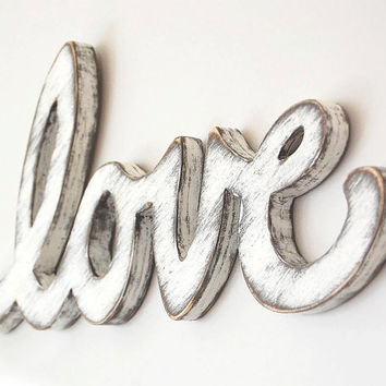 Cottage decor love wedding sign rustic white - wooden wall sign