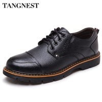 Tangnest British Style Oxfords Shoes Men New Pu Leather Men Footwear Round Toe Men's Business Shoes Man Casual Flats XMP700