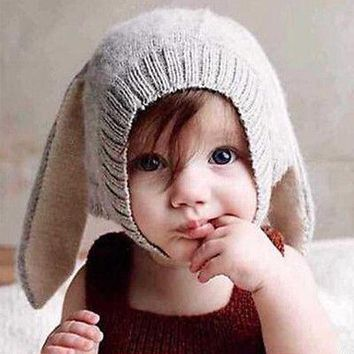 Toddler Baby Infant Warm Crochet Knit Hat Beanie Scarf Cute Bunny Ears Baby Hats