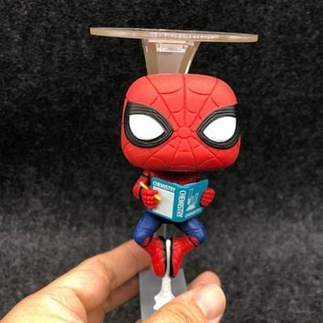 Marvel Avengers Spiderman 259 Hanging Reading Books Ver Spider Man Homecoming 10cm Figure Collection Vinyl Doll Model Toys