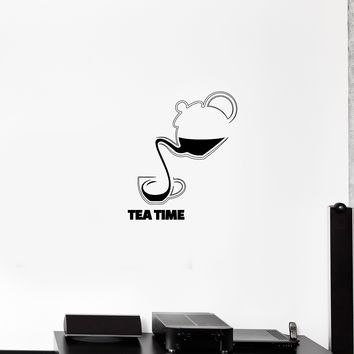 Wall Decal Tea Coffee Drinks Kitchen Cafe Kettle Cup Vinyl Sticker Unique Gift (ed758)