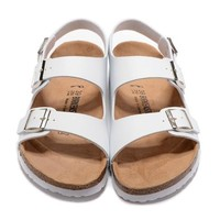 Birkenstock New Style 3 Summer Fashion Leather Cork Flats Beach Lovers Slippers Casual Sandals For Women Men Couples Slippers triple White