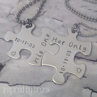 Personalized couples necklace hand stamped by InspiredByBronx
