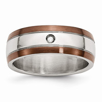 Men's Stainless Steel Chocolate IP-plated Diamond Polished Wedding Band Ring: RingSize: 8.5