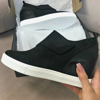 Zone Out Black Faux Suede Wedge Sneaker