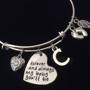 Forever and Always My Baby You'll Be Expandable Silver Charm Bracelet Bangle Memorial Gift  Baby Feet Angel Wing Initial